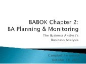 BABOK Chapter 2 - Business Analysis Planning and Monitoring