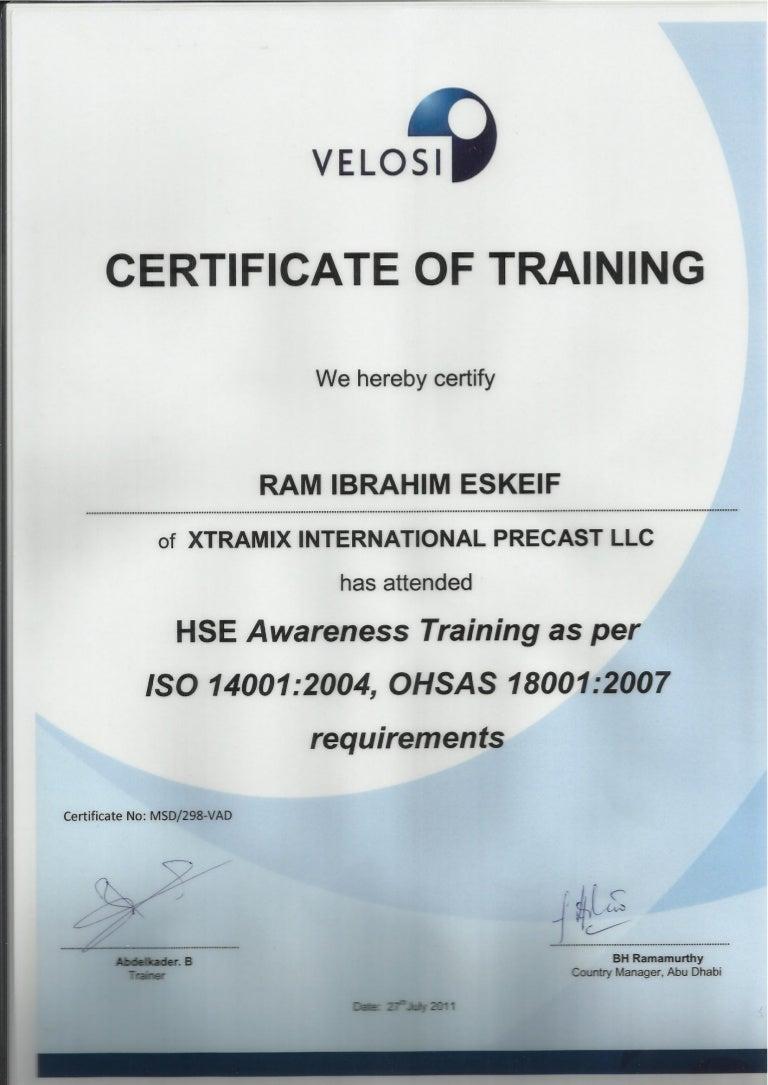 Velosi iso certificate of training xflitez Choice Image