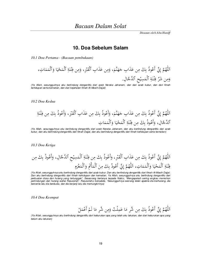 Bacaan Dalam Solat 10 Doa Sebelum Salam