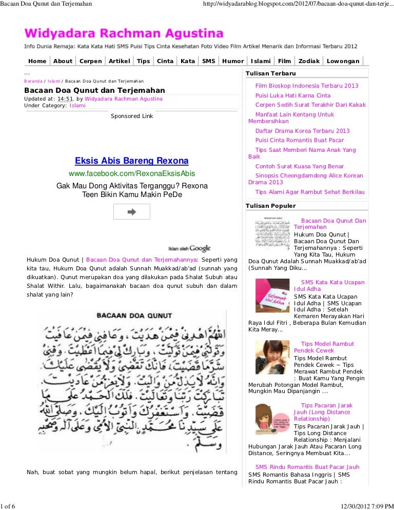 Bacaan Doa Qunut Dan Terjemahan
