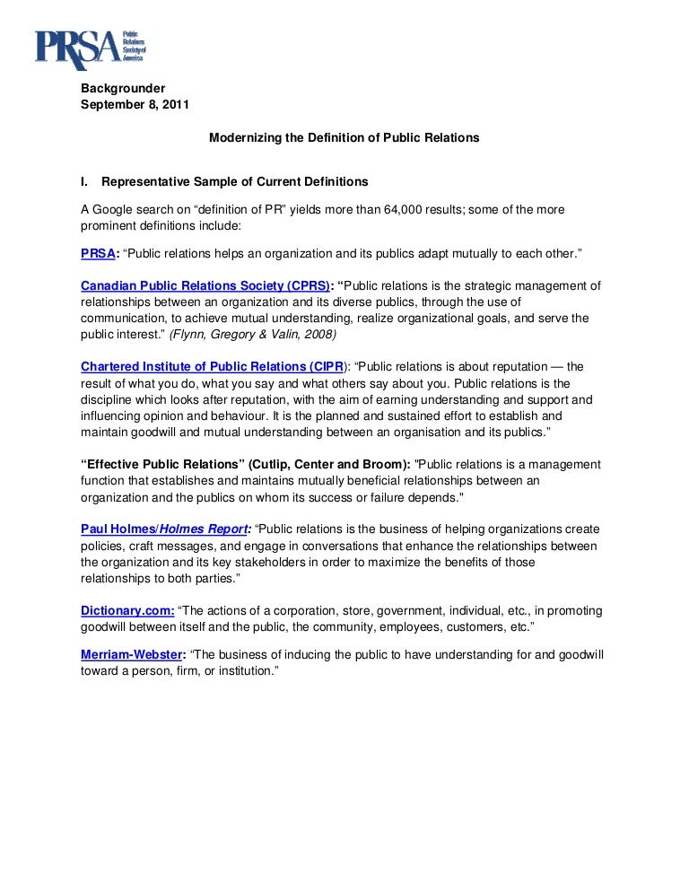Backgrounder - Public Relations Defined Initiative
