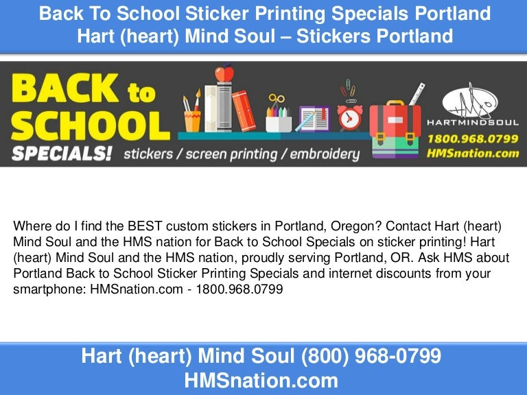 Back to school sticker printing specials portland