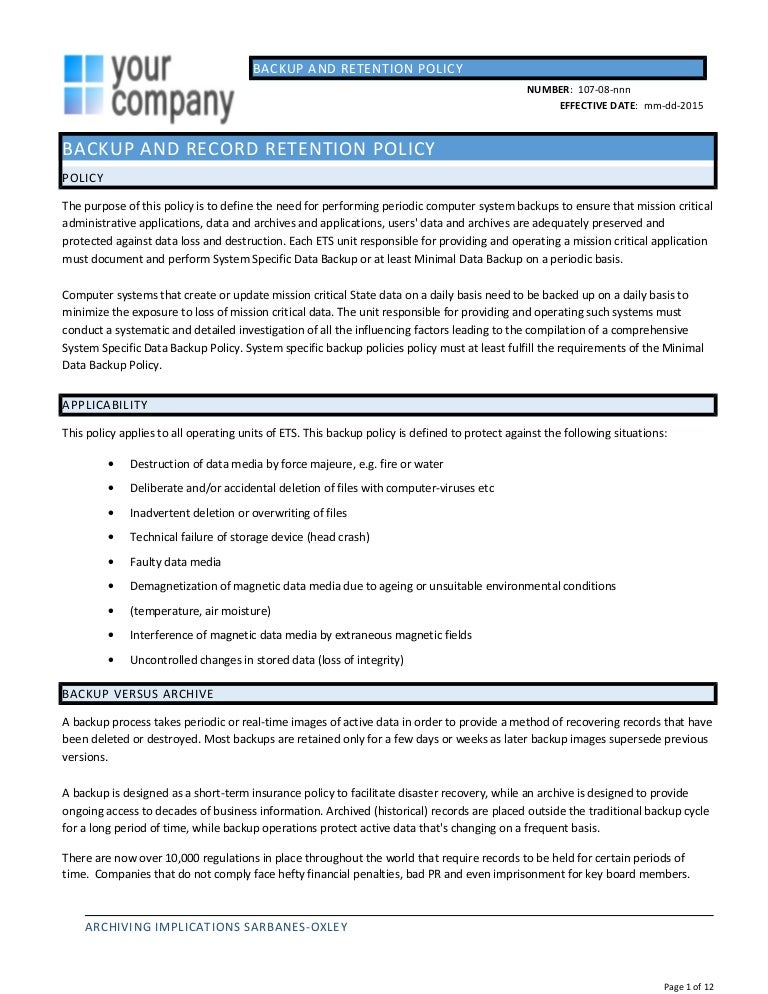 it policy document template - backup policy template julie bozzi oregon