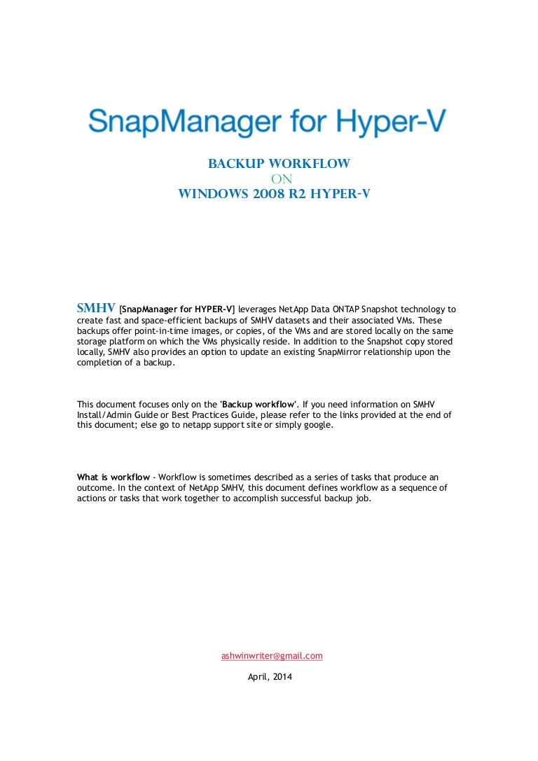 Backup workflow for SMHV on windows 2008R2 HYPER-V