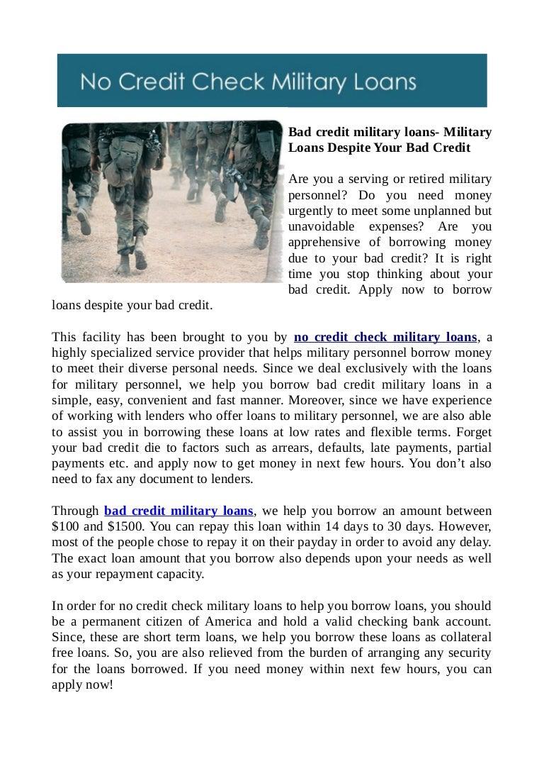 Bad Credit Military Loans >> Bad Credit Military Loans Military Loans Despite Your Bad