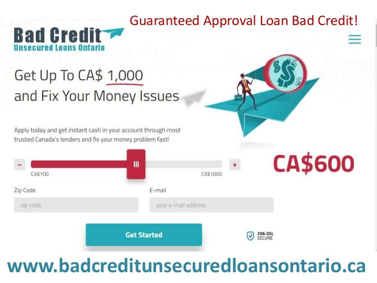 unsecured personal loan bad credit canada