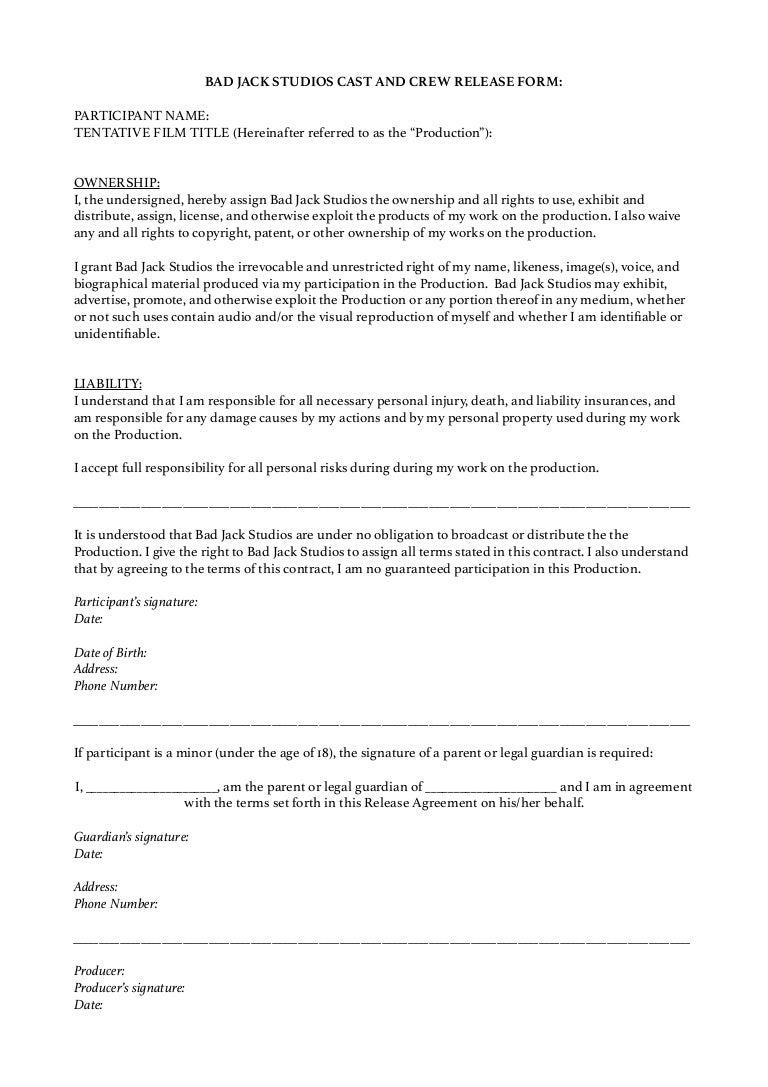 Release Form – Parent Release Form