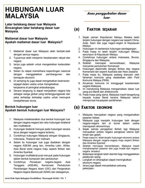 Nota Sejarah Tingkatan 5 Bab 9: Malaysia Dalam Kerjasama Antarabangsa.