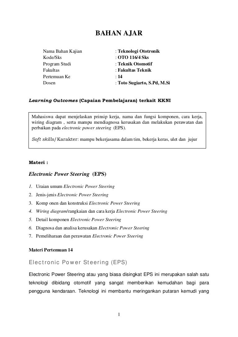 Bahan Ajar 14 Electronic Power Steering Electric Wiring Diagram