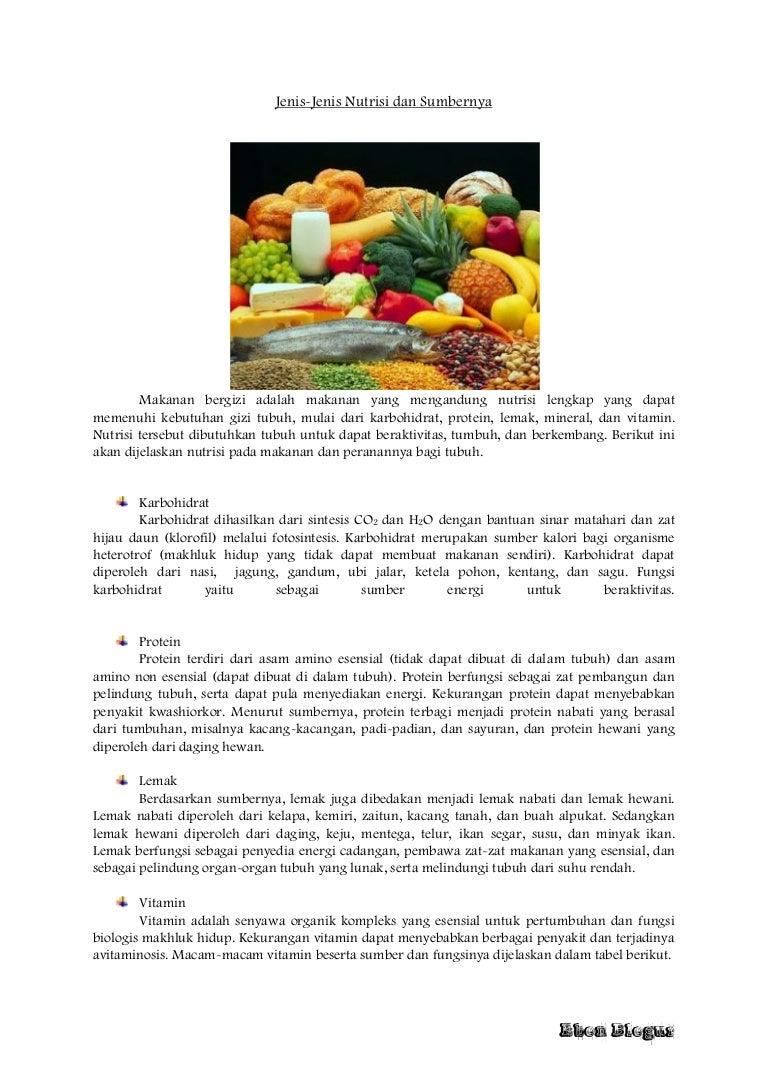 Jenis Jenis Nutrisi Dan Sumbernya