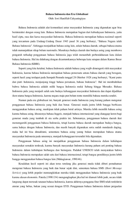 Artikel Bahasa Indonesia Dan Era Globalisasi