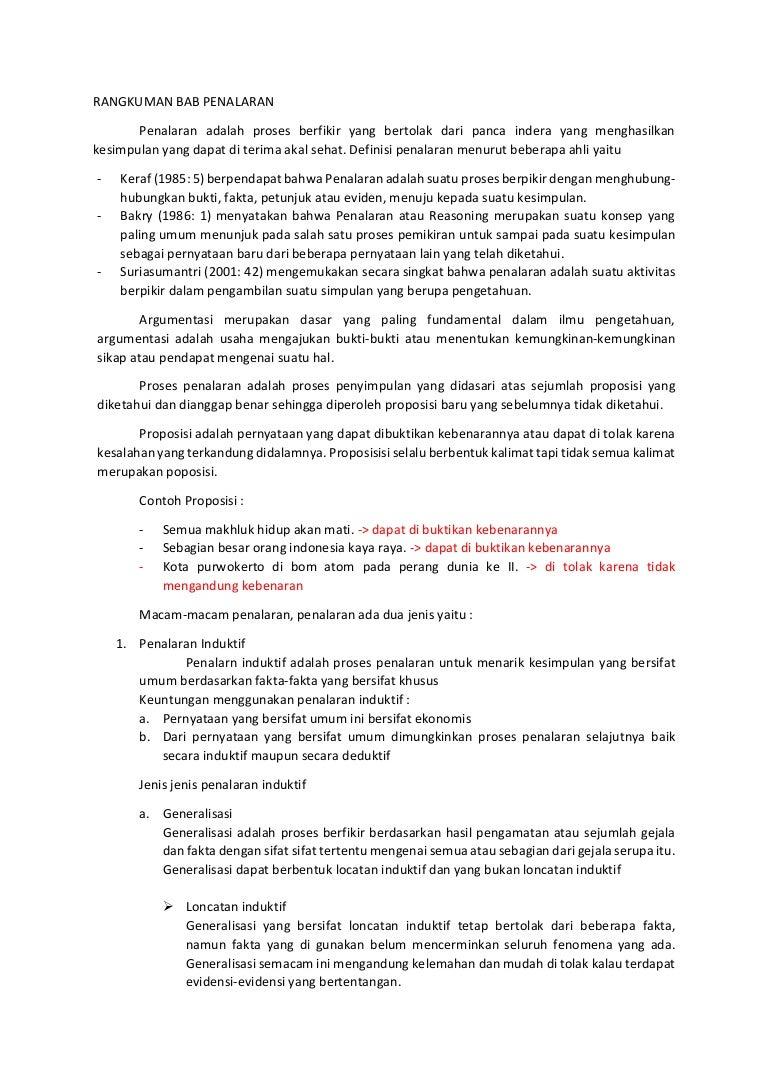 Rangkuman Bab Penalaran Mk Bahasa Indonesia