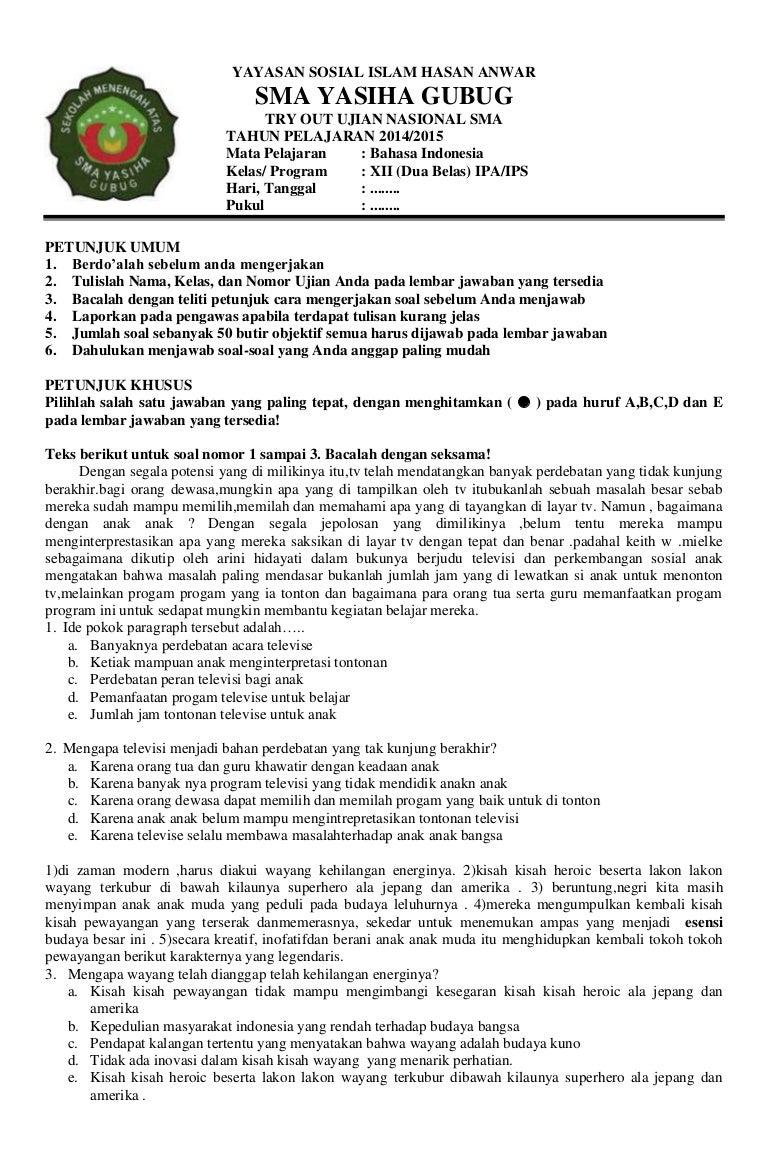 Soal UN Bahasa indonesia SMA YASIHA GUBUG