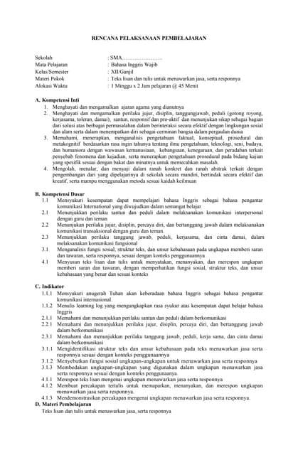 Silabus Bahasa Inggris Kelas Xi Wajib K 13