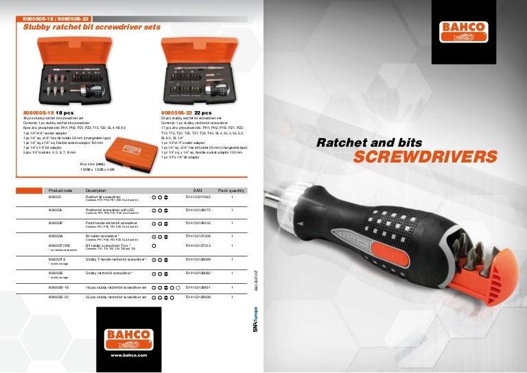 BAHCO 808050 Ratchet Bit Screwdriver