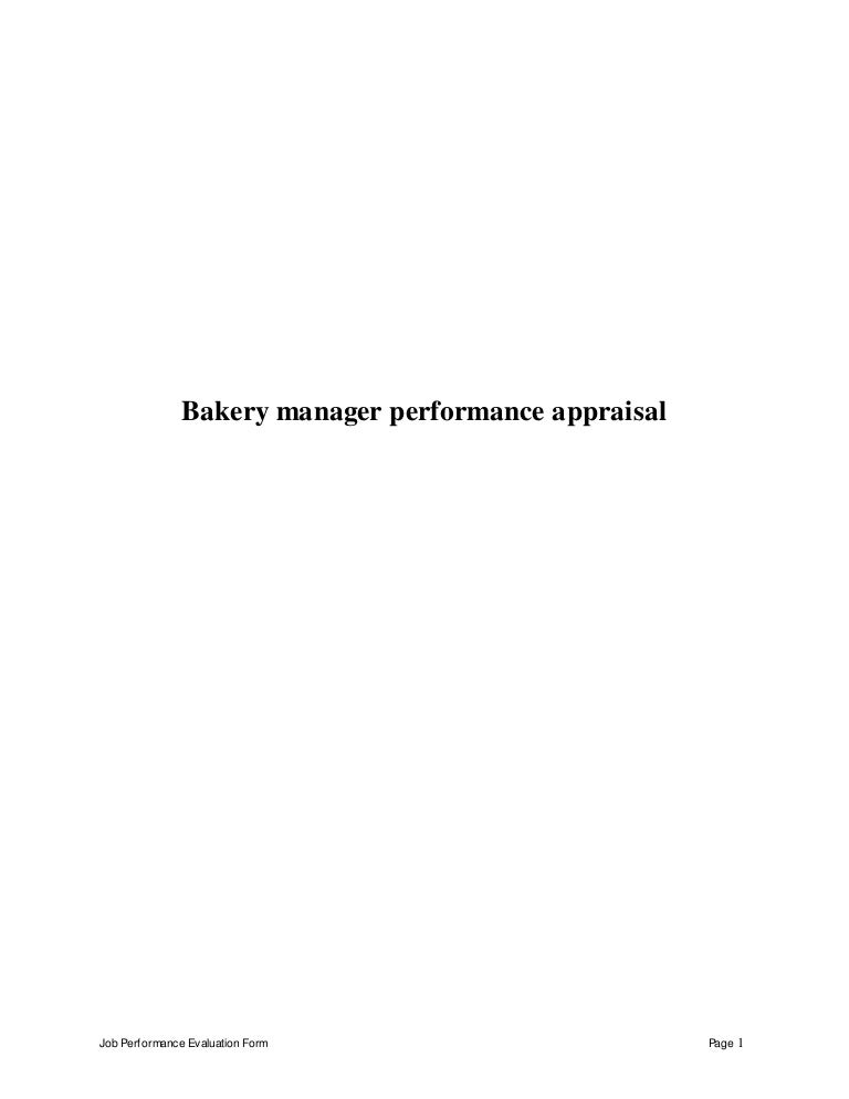 Bakery manager perfomance appraisal 2