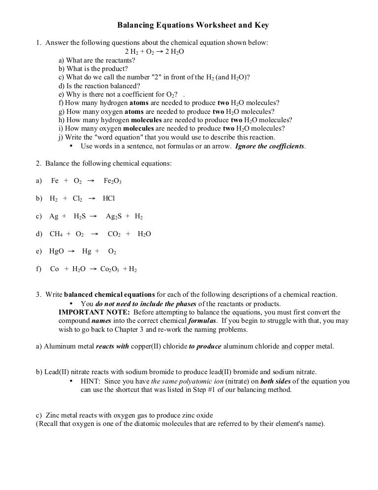 Balancing equations 10