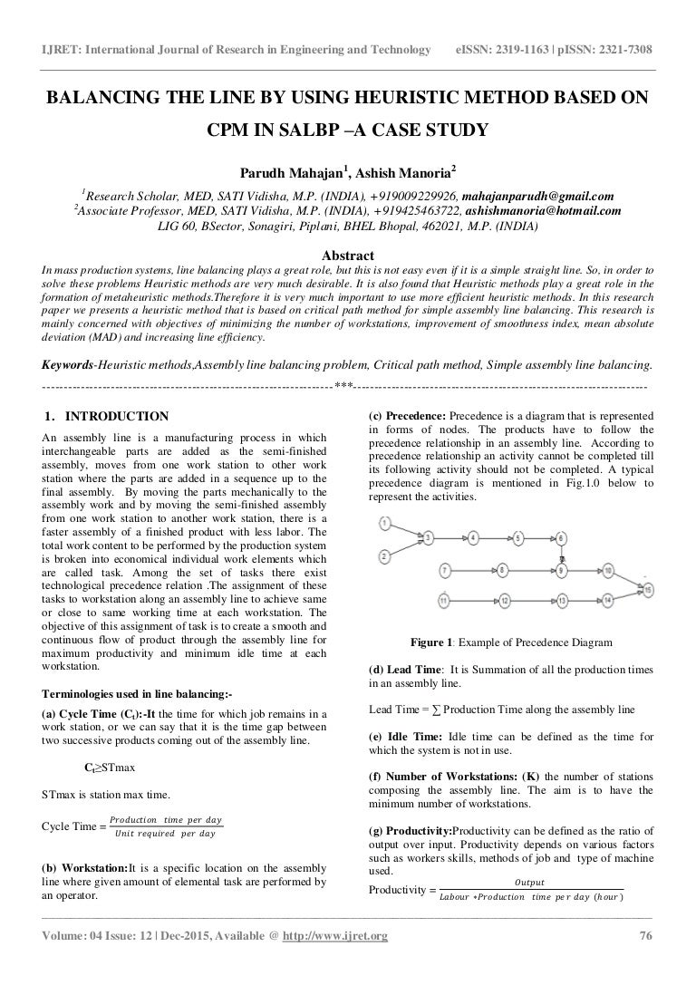 Balancing the line by using heuristic method based on cpm in salbp a pooptronica Choice Image