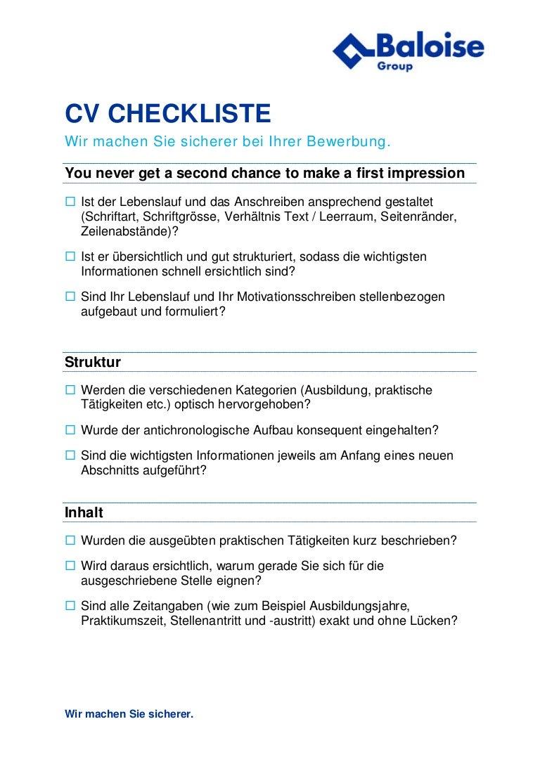 erfolgreich bewerben checkliste bewerbung der baloise group - Seitenrnder Lebenslauf