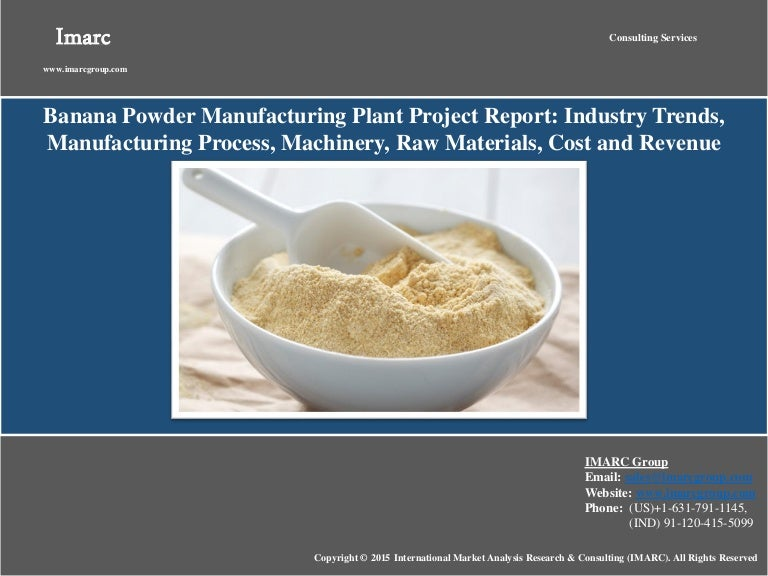 Banana Powder  Market Analysis Cost  Manufacturing Plant Project R