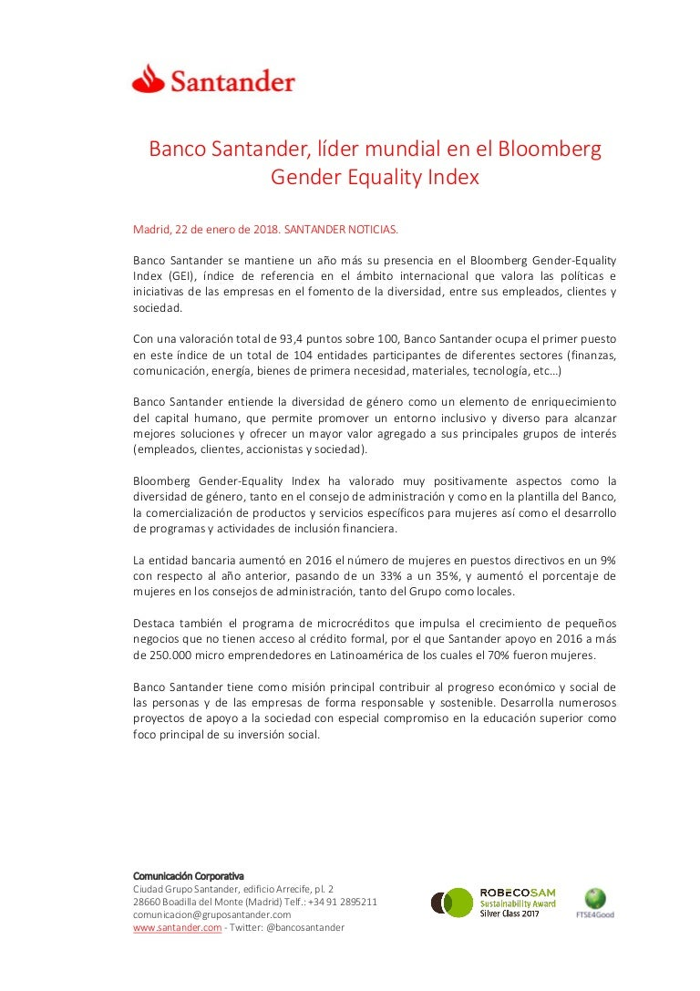 Banco Santander, líder mundial en el Bloomberg Gender Equality Index