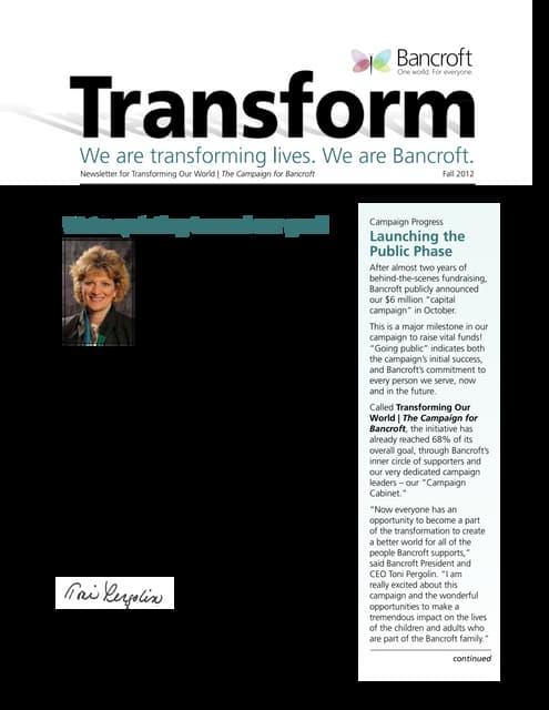 Bancroft Transform Newsletter