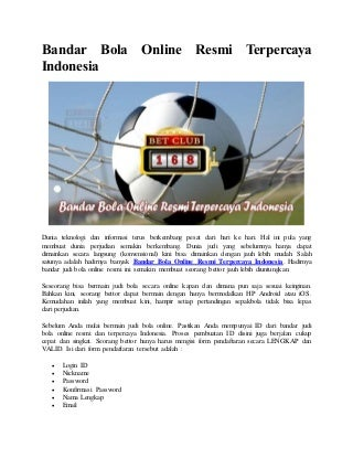 Bandar bola online resmi terpercaya indonesia