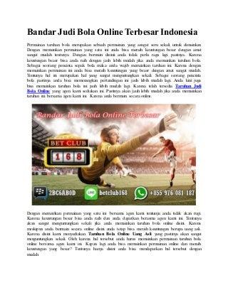 Bandar judi bola online terbesar indonesia