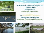 Bangalore's lakes and impact on ground water