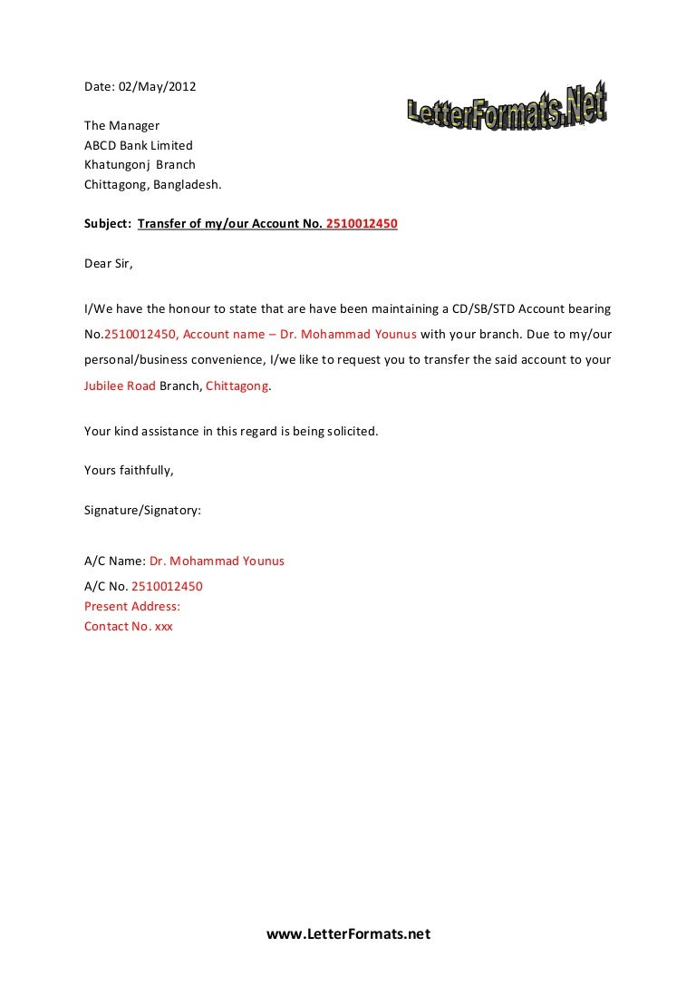 Bank account transfer letter for Account closure letter template