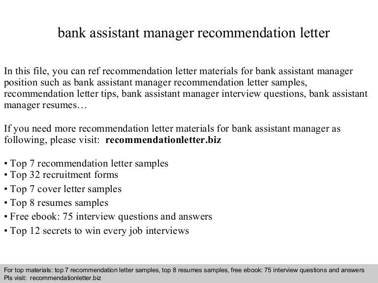 Bank assistant manager recommendation letter
