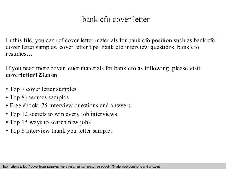 bank cfo cover letter cfo cover letter