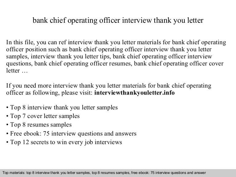 Bank Chief Operating Officer