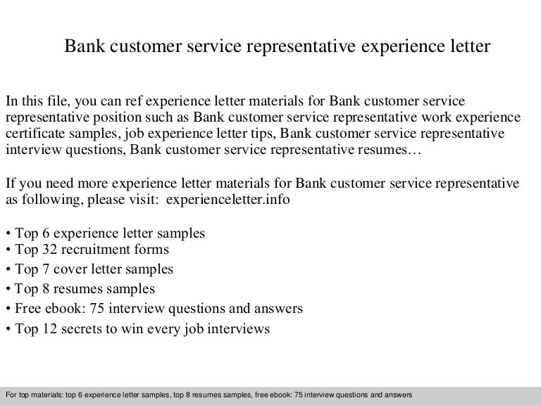 bankcustomerservicerepresentativeexperienceletter 140904122114 phpapp01 thumbnail 4jpgcb1409833298 - Cover Letter For Bank Customer Service Representative
