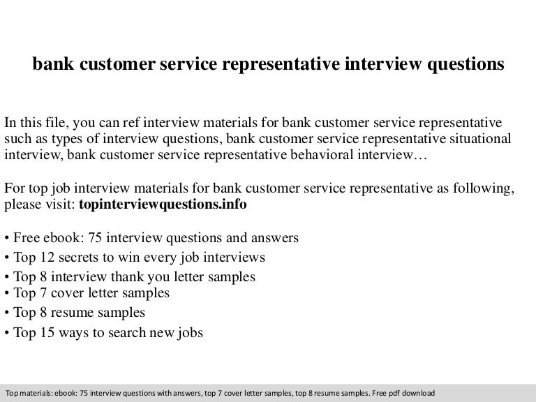 bank customer service representative interview questions - Cover Letter For Bank Customer Service Representative