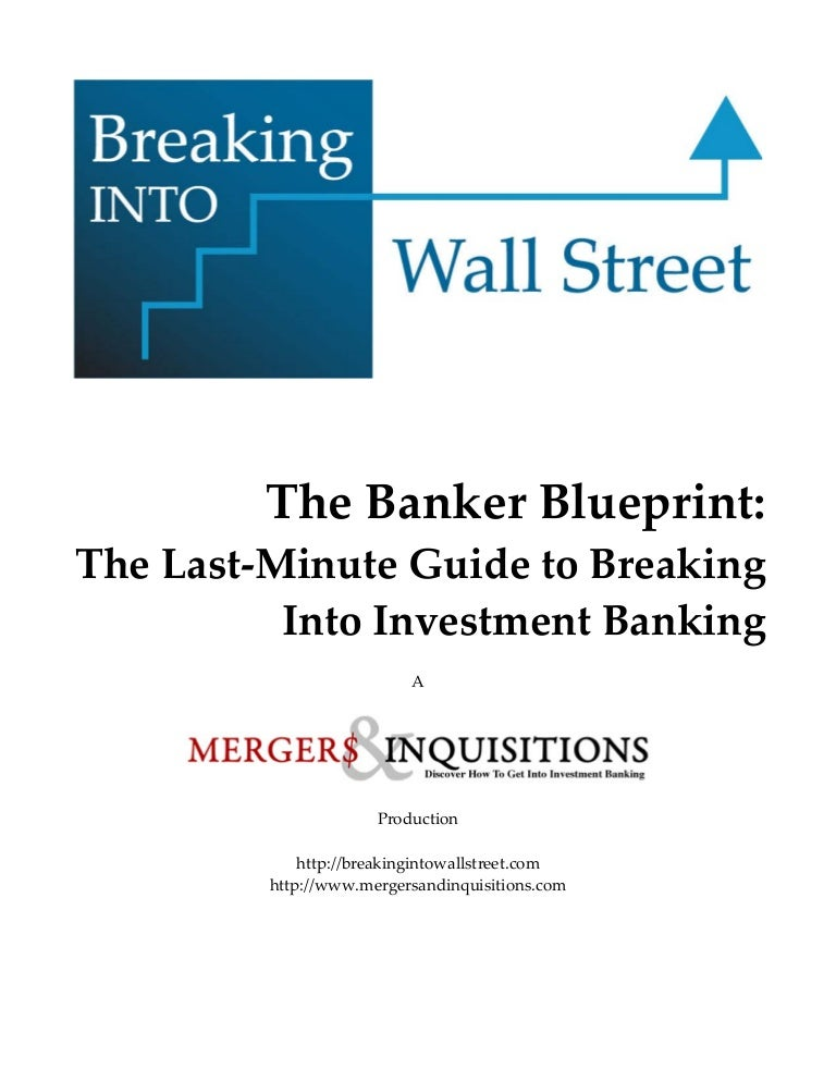 Banker blueprint – Mergers and Inquisitions Cover Letter