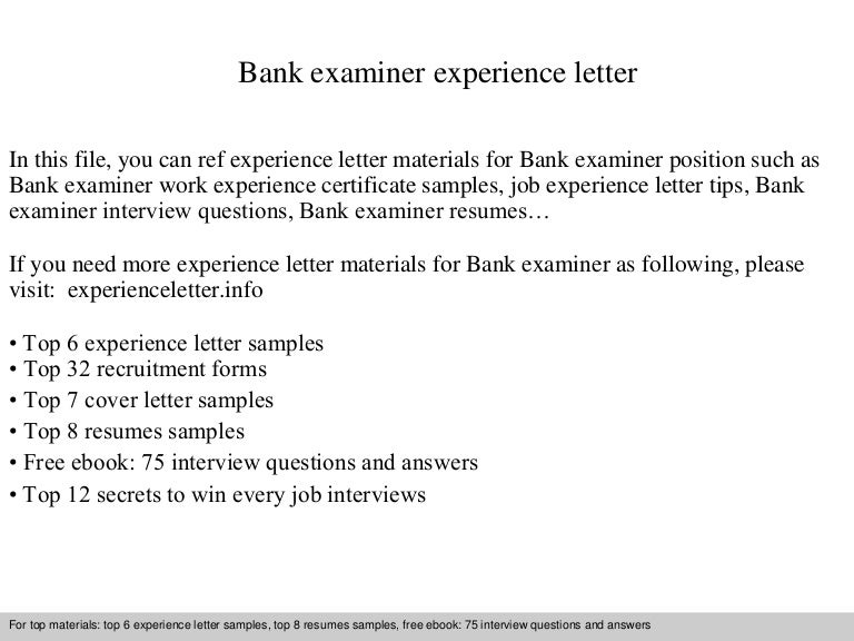 Bank examiner experience letter