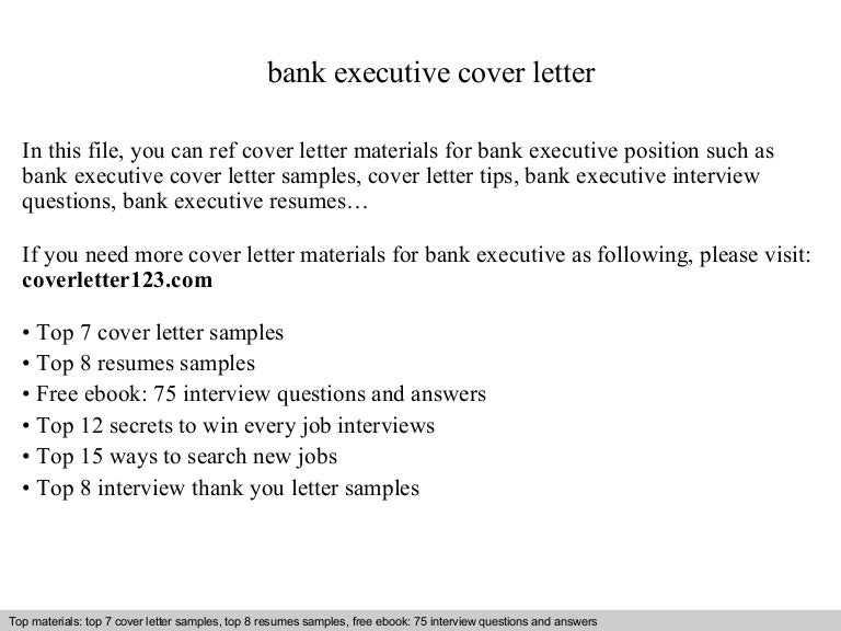 Bank executive cover letter