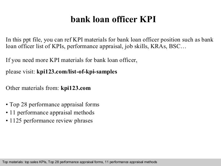 Bank Loan Officer Kpi