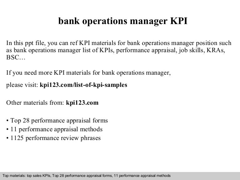 Operation manager job in bank