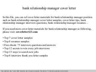 sample relationship manager cover letter - zaxa.tk