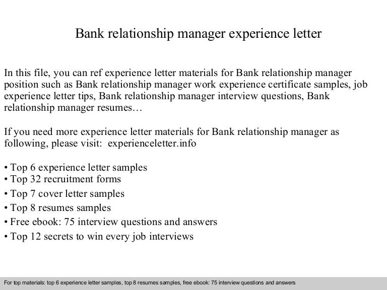 relationship manager cover letter