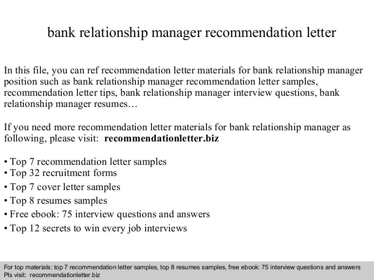 Bank relationship manager recommendation letter