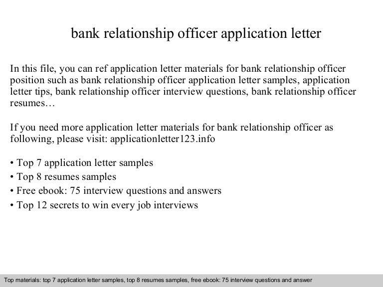 bank relationship officer application letter