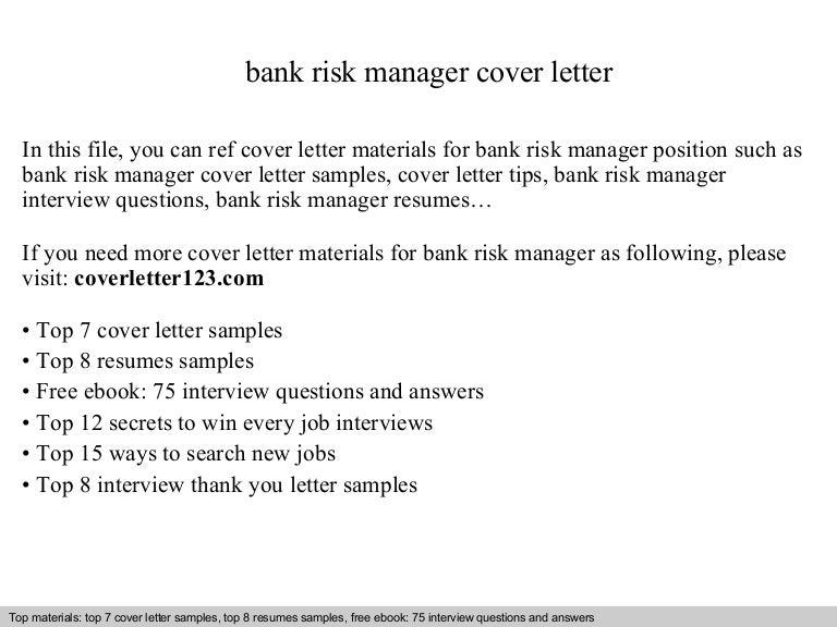 Bank risk manager cover letter