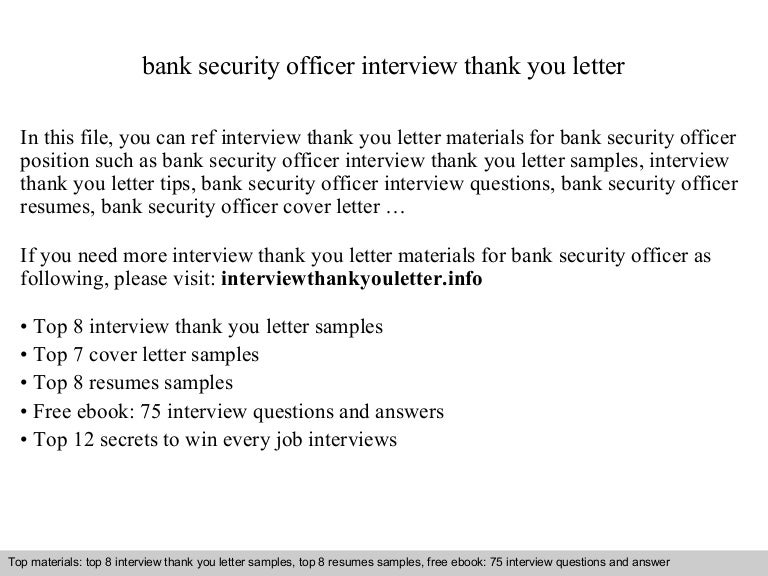 Bank Security Officer Application Letterbank Security Officer