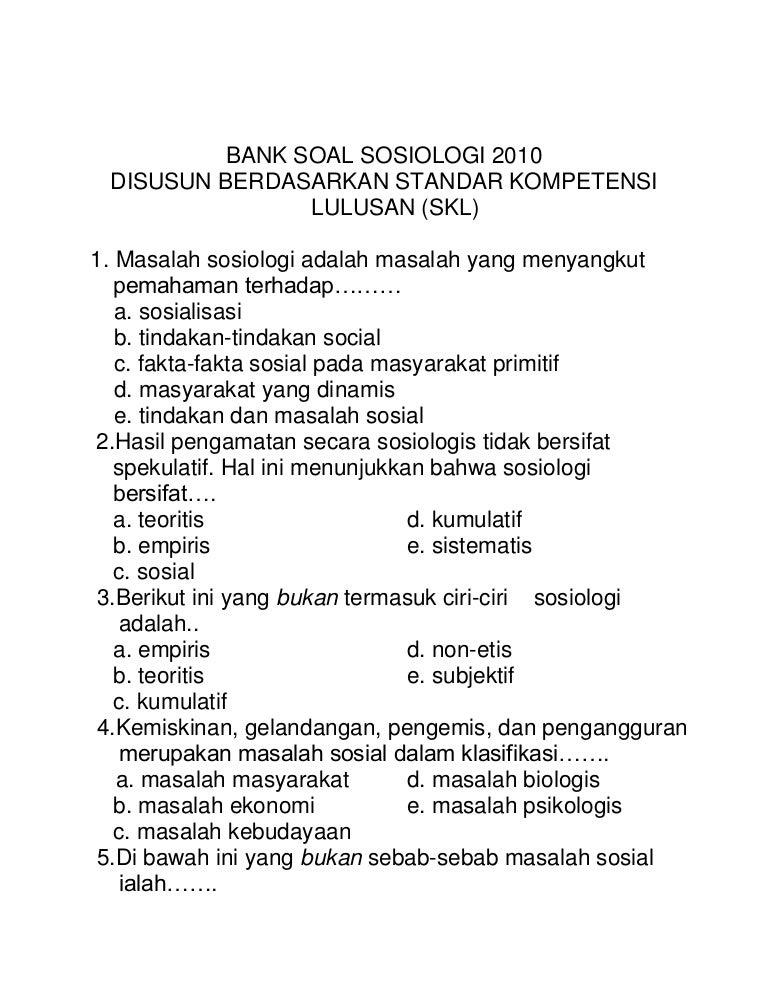Bank Soal Sosiologi