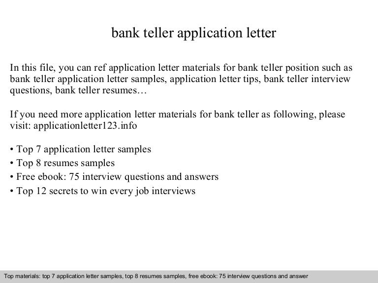 Cover Letter Teller Position. Sample Teller Resume | Resume Cv