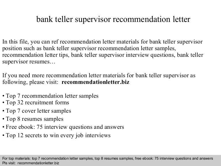 Bank Teller Supervisor Recommendation Letter