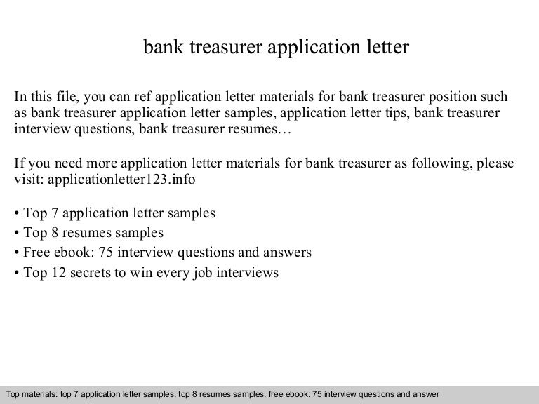 Bank Treasurer Application Letter